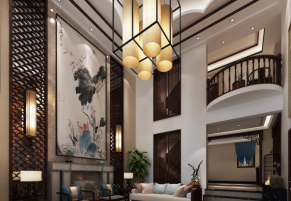 郑州思念果岭300平新中式风格装修效果图
