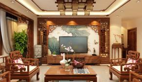 郑州海马公园138平新中式装修效果图